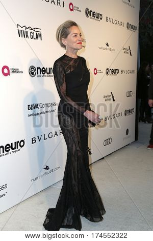 LOS ANGELES - FEB 26:  Sharon Stone at the 25the Annual Elton John Academy Awards Viewing Party at the  City of West Hollywood Park on February 26, 2017 in West Hollywood, CA