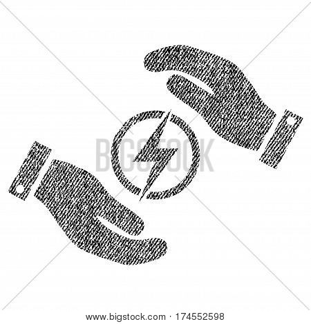 Electric Energy Insurance Hands vector textured icon for overlay watermark stamps. Fabric black vectorized texture. Symbol with unclean design. Rubber seal stamp with fiber textile structure.