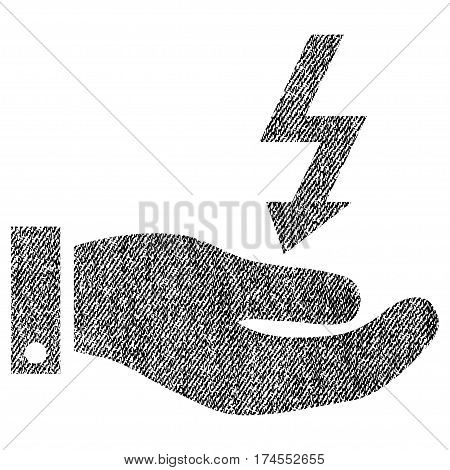 Electric Energy Service Hand vector textured icon for overlay watermark stamps. Fabric black vectorized texture. Symbol with scratched design. Rubber seal stamp with fiber textile structure.