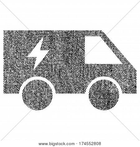 Electric Power Car vector textured icon for overlay watermark stamps. Fabric black vectorized texture. Symbol with dust design. Rubber seal stamp with fiber textile structure.