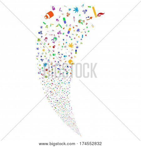 Narcotic Drugs random fireworks stream. Vector illustration style is flat bright multicolored iconic symbols on a white background. Object fountain done from scattered pictograms.