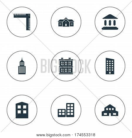 Set Of 9 Simple Construction Icons. Can Be Found Such Elements As Length, Residential, Floor And Other.