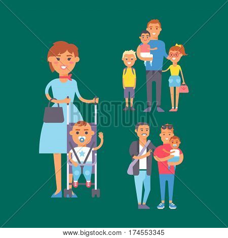Family people adult happiness smiling group togetherness parenting concept and casual parent, cheerful, lifestyle happy character vector illustration. Healthy joyful young human generation.