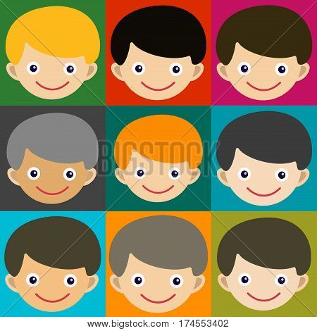 Boy face portrait fun happy young expression cute teenager cartoon character and happyness little kid flat human cheerful joy casual childhood life vector illustration. Adorable preschooler male.