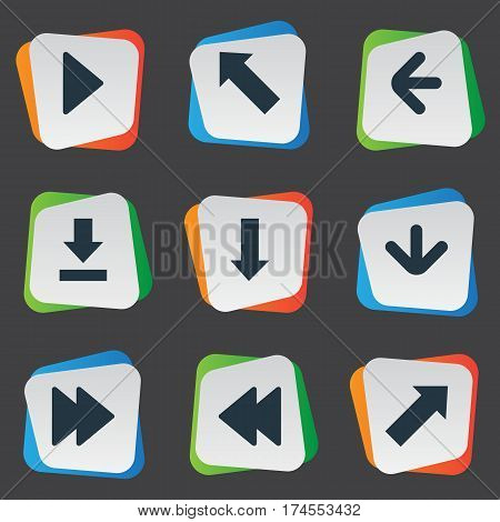 Set Of 9 Simple Indicator Icons. Can Be Found Such Elements As Advanced, Right Landmark, Let Down.