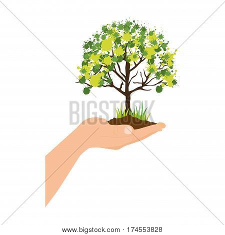 colorful silhouette with leafy tree over hand vector illustration