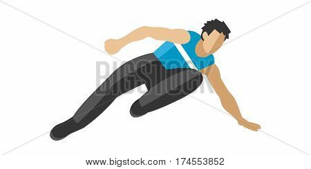 parkour, jump fun sport and outdoor urban jump. Lifestyle street culture recreation trick. jump doing trickpark extreme sport fun urban character flat vector.