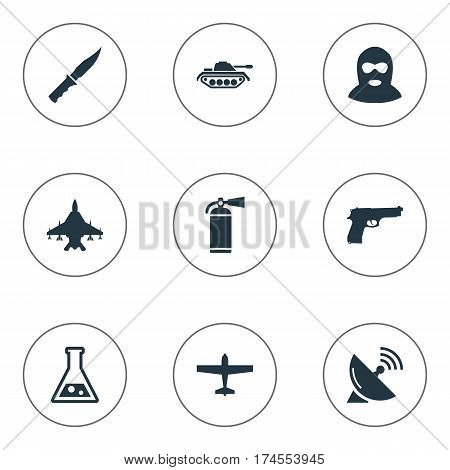 Set Of 9 Simple Battle Icons. Can Be Found Such Elements As Cold Weapon, Air Bomber, Heavy Weapon And Other.
