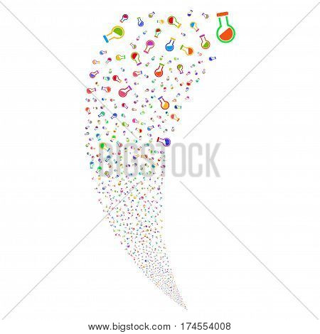 Retort random fireworks stream. Vector illustration style is flat bright multicolored iconic symbols on a white background. Object fountain created from scattered icons.