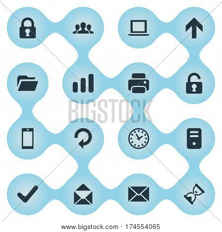 Set Of 16 Simple Practice Icons. Can Be Found Such Elements As Smartphone, Community, Upward Direction And Other.