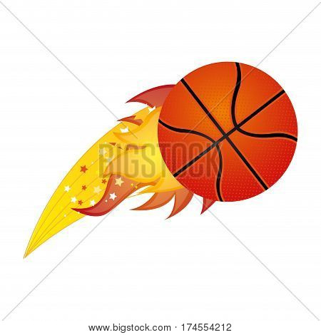 colorful olympic flame with basketball ball vector illustration