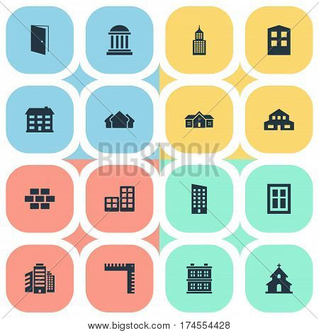 Set Of 16 Simple Structure Icons. Can Be Found Such Elements As Popish, Floor, Shelter And Other.