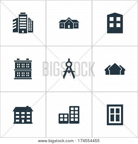 Set Of 9 Simple Construction Icons. Can Be Found Such Elements As Block, School, Engineer Tool And Other.