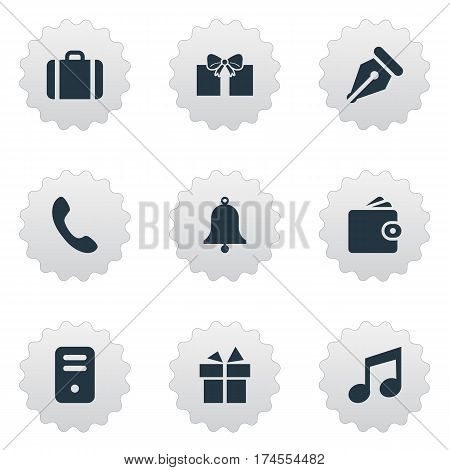 Set Of 9 Simple Accessories Icons. Can Be Found Such Elements As Billfold, Ring, Call Button And Other.