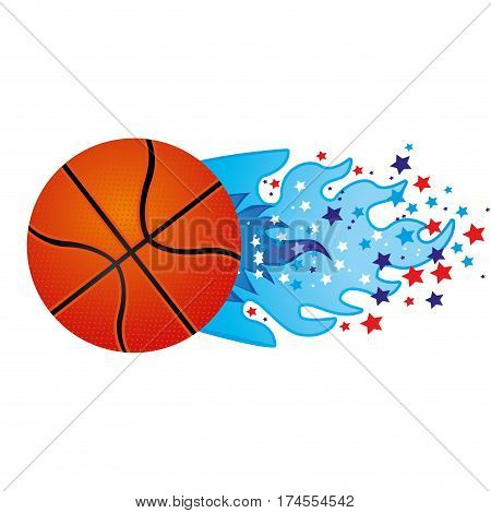 colorful olympic flame with stars and basketball ball vector illustration