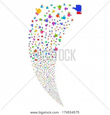 Thumb Up random fireworks stream. Vector illustration style is flat bright multicolored iconic symbols on a white background. Object fountain done from scattered symbols.