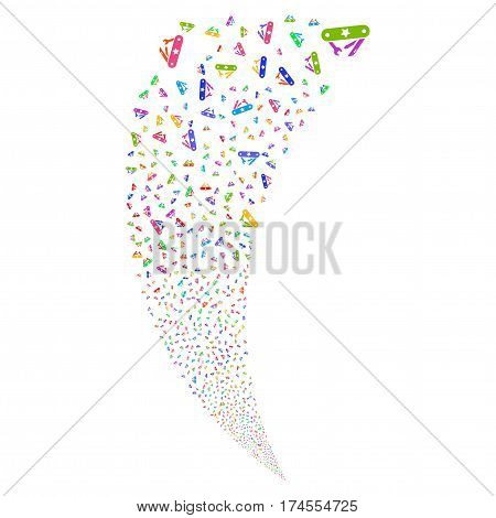 Universal Army Knife random fireworks stream. Vector illustration style is flat bright multicolored iconic symbols on a white background. Object fountain combined from scattered icons.