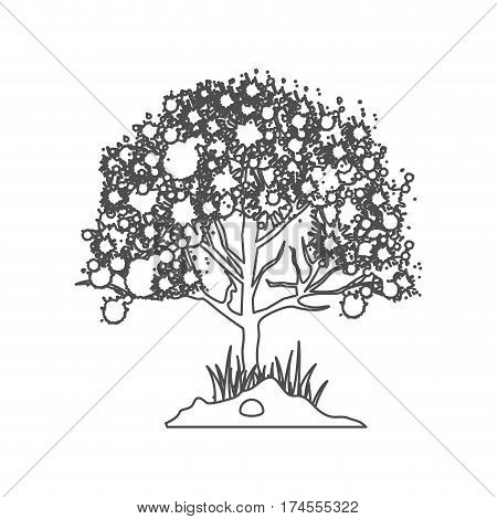 grayscale contour with leafy tree vector illustration