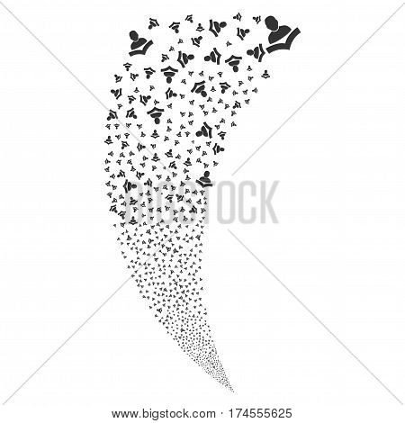 Book Reader random fireworks stream. Vector illustration style is flat gray iconic symbols on a white background. Object fountain done from scattered icons.