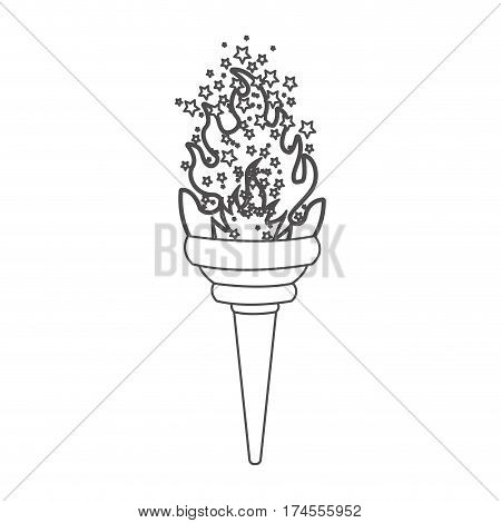 grayscale contour with olympic torch flame with stars vector illustration