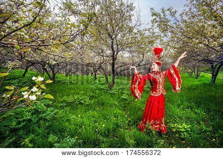 Kazakh Dancer In Traditional Costume