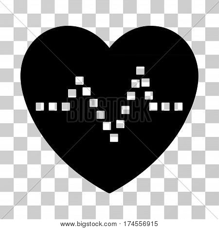 Heart Pulse icon. Vector illustration style is flat iconic symbol, black color, transparent background. Designed for web and software interfaces.