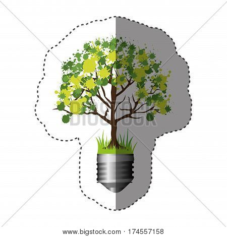 sticker colorful silhouette of light bulb base with leafy tree vector illustration