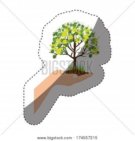 sticker colorful silhouette with leafy tree over hand vector illustration