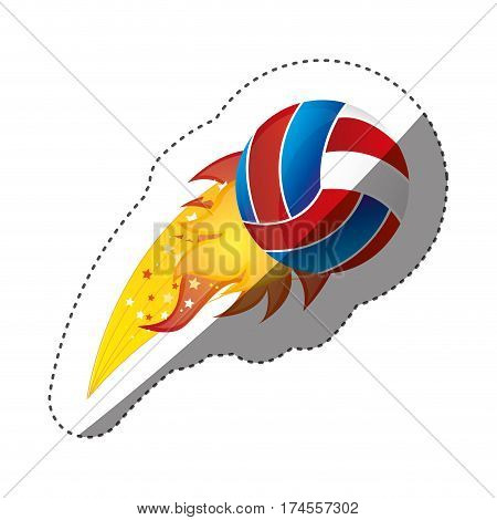 sticker colorful olympic flame with volleyball ball vector illustration