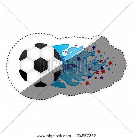 sticker colorful olympic flame with stars and soccer ball vector illustration