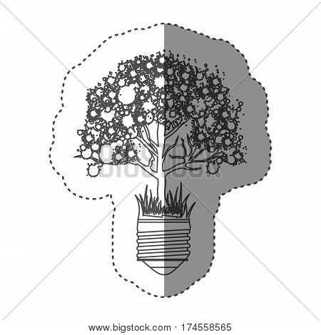 sticker grayscale contour with light bulb base with leafy tree vector illustration
