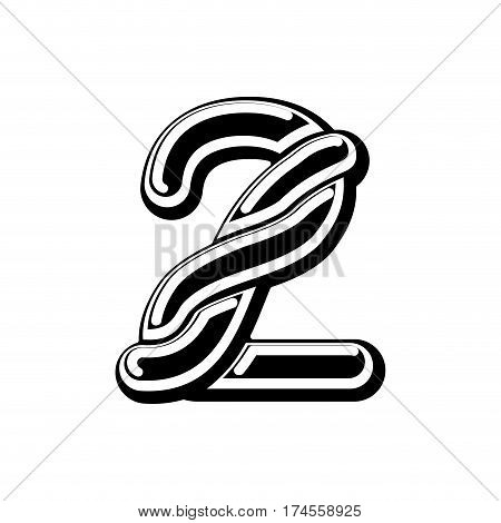Number 2 Celtic Font. Norse Medieval Ornament Abc Sign Two. Traditional Ancient Manuscripts Alphabet