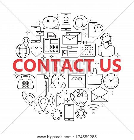 Contact us line icons. Support concept set. For web site construction, mobile applications, banners, corporate brochures.