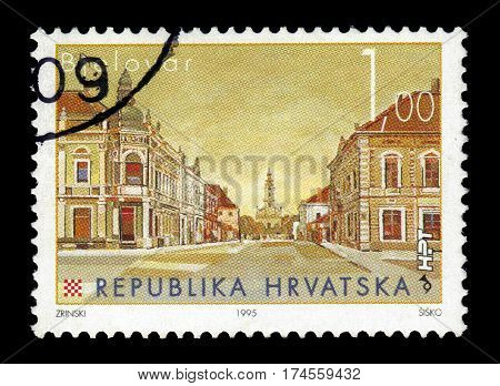 Croatia  - CIRCA 1995: A stamp printed in Croatia  shows Bjelovar, city in central Croatia. It is the administrative centre of Bjelovar-Bilogora County, circa 1995