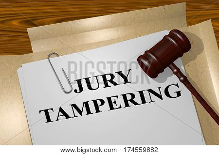 """3D illustration of """"JURY TAMPERING"""" title on legal document poster"""