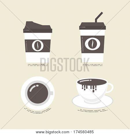 set of flat coffee ico vintage style