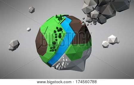 3D Low Poly Planet vector illustration, platonic shapes
