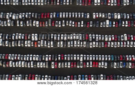 Aerial image of rows of parked cars