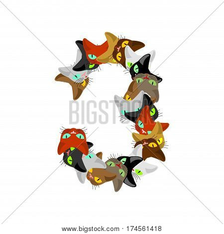 Number 3 Cat Font. Cats Number Three. Pet Alphabet Sign. Home Animal Abc
