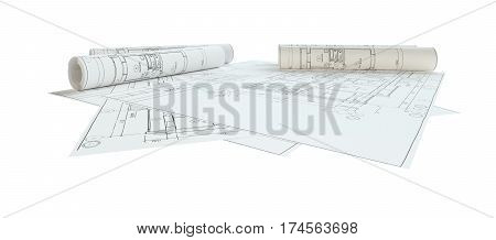 Rolled House Blueprints. Isolated On White Background. 3D Illustration