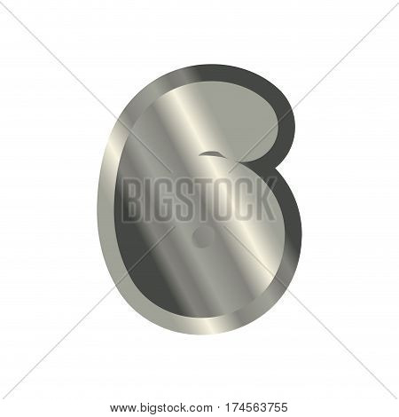 Number 6 Steel. Metal Font Six. Silver Alphabet Sign. Iron Abc Symbol