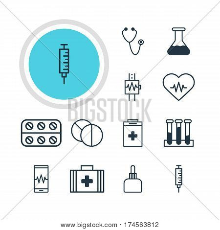 Vector Illustration Of 12 Medical Icons. Editable Pack Of Phone Monitor, Exigency, Flask And Other Elements.