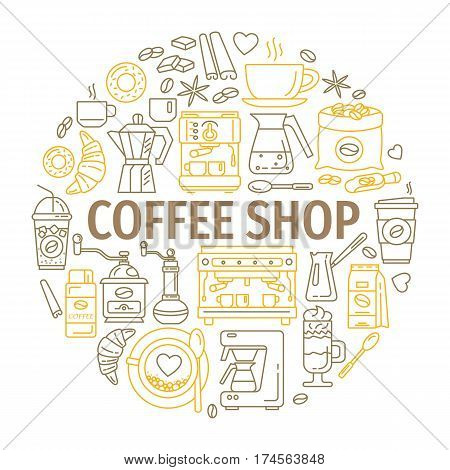 Outline web icon set . Elements - mocha pot, coffee mill, latte, vending, plant, iced coffe, cup, cezve, coffe machine Vector line icons of coffeemaking equipment