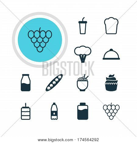 Vector Illustration Of 12 Meal Icons. Editable Pack Of Muscat, Loaf, Soft Drink And Other Elements.