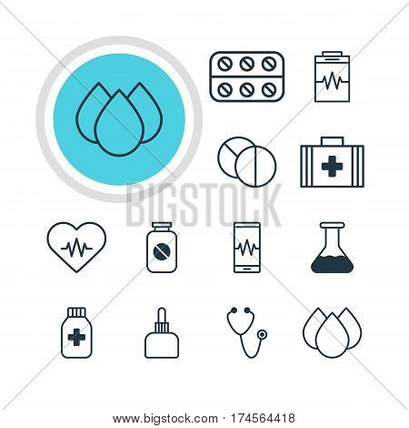 Vector Illustration Of 12 Medicine Icons. Editable Pack Of Medicament Pitcher, Round Tablet, Medical Bag And Other Elements.