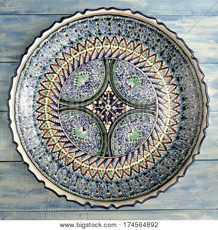 Traditional Uzbek ceramic plates with floral pattern