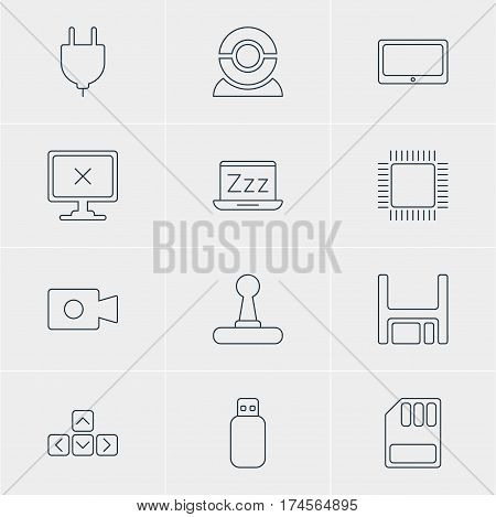 Vector Illustration Of 12 Notebook Icons. Editable Pack Of Access Denied, Flash Drive, Storage And Other Elements.