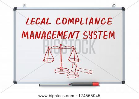legal compliance management system concept on the dry erase board 3D rendering