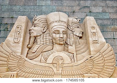 SAINT-PETERSBURG, RUSSIA - AUGUST 15, 2016: Ancient Egyptian Gods and Pharaohs Sculpture on The Sand Sculpture Festival near The Peter and Paul Fortress Wall