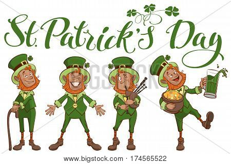 St. Patricks day lettering text. Set fun cartoon man. Isolated on white vector illustration